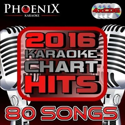 Phoenix Karaoke 2016 CHART HITS. 80 Top Songs. 4 CD+G CDG Disc Set.