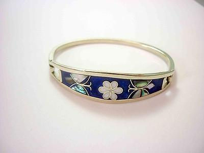 Mexican Alpaca Silver Girls Small Bangle With Mother Of Pearl Flower