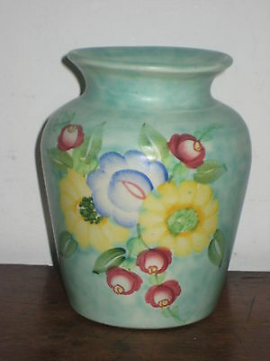 Pretty E Radford  Hand Painted Vase Turqouise Ground Colourful Flowers