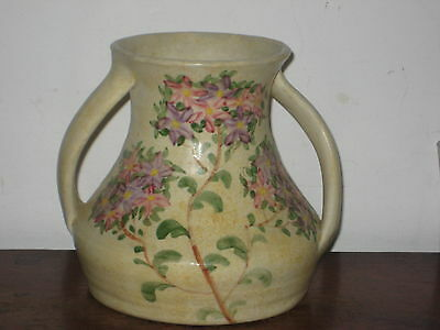 Pretty E Radford  Hand Painted Twin Handled Vase Colourful Flowers