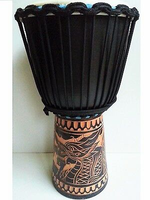 "Pro Quality Mahogany Wood Bongo Djembe Drum Dragon Carved 50Cm 9-9.5"" Head"