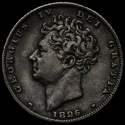 1826 George IV Bare Head Milled Silver Sixpence – GVF