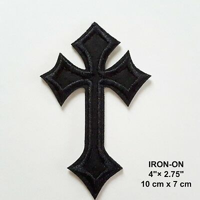 Celtic Black Cross Biker Gothic Embroidered Iron On Patch Punk Crusader Applique