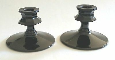 Vintage Ebony Black Glass Candlesticks  Elegant