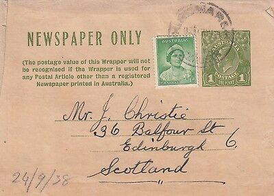 G 397 Hindmarsh SA 1938 uprated KGV newspaper wrapper to Scotland piece