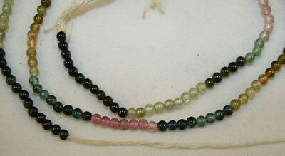 MULTICOLOR WATERMELON TOURMALINE GEMSTONE 2MM ROUND BEADS STRAND 15 IN LONG TuC