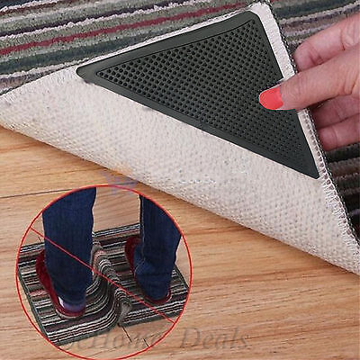 New 4 Pcs Rug Carpet Mats Grippers Ruggies Non Slip Skid Reusable Washable Grips