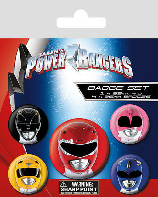 Power Rangers Classic Helmets 5 Pack of Badges TV Film Button Pin