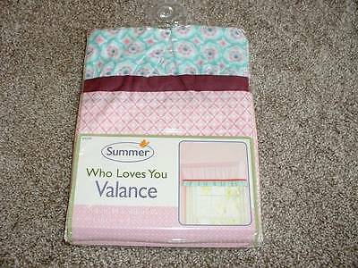 Summer Who Loves You Valance Curtain Baby Infant Girls Nursery Pink Teal NEW NIP