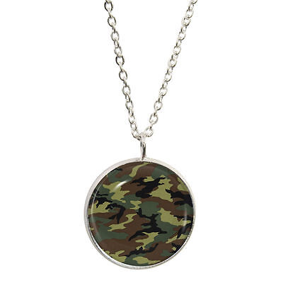 Camouflage Pendant & Necklace camo print army armed forces NEW