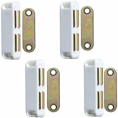 4 x Double Magnetic Cupboard Door Catch White 4kg Pull Strong