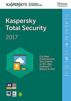 Kaspersky TOTAL SECURITY 2017, 10 Multi-Devices 1 Year LATEST DOWNLOAD VERSION