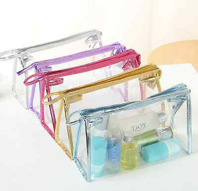 Women Clear Transparent Plastic PVC Travel Cosmetic Make Up Toiletry Bag Zipper