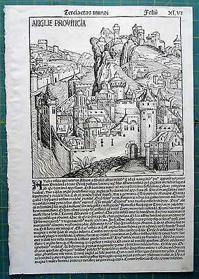ENGLAND Schedel Nuremberg Chronicle 1493 original map