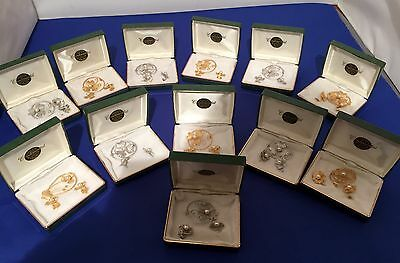 Lot Of 12 Vintage Earrings & Brooch Set.continental.original Box.gold And Silver