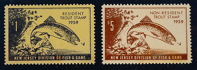 UNITED STATES, NEW JERSEY FISHING PERMIT STAMPS, (1959) MINT, Cat. Value $25.00