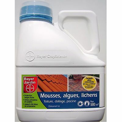 Anti mousse dallage, toiture, court de tennis, piscine ... Bayer 2,5L pour 500m²
