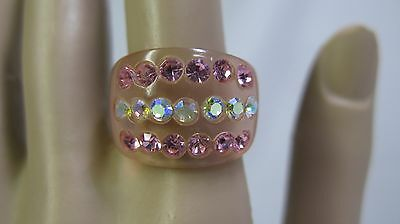 Vintage Translucent Clear Pink Lucite Ring - Pink & AB Rhinestones - Size 7