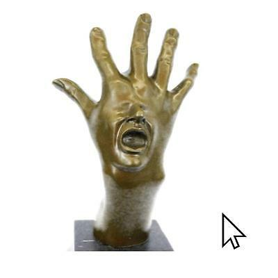 Original Abstract Hand With Face Bronze Sculpture Statue Figurine Q