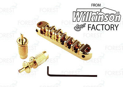 Modern Tunematic style guitar bridge, roller saddles MTB604 gold, TOM