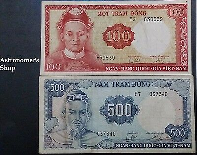 South Vietnam banknotes VN Cong Hoa 1966 - Currency 100,500 Dong