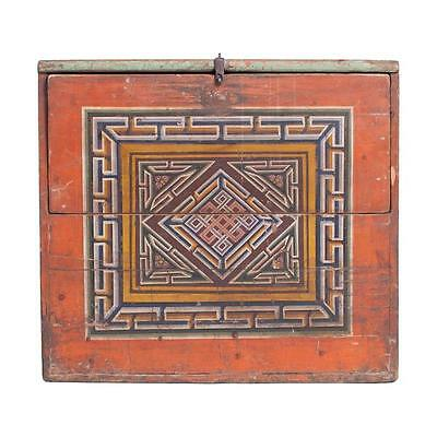Vintage Mongolian Chest with Endless Knot Symbol