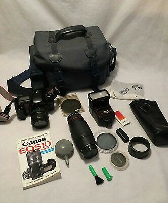 Canon EOS10 with 28mm-70mm lens case flash zoom cokin filters and accessories
