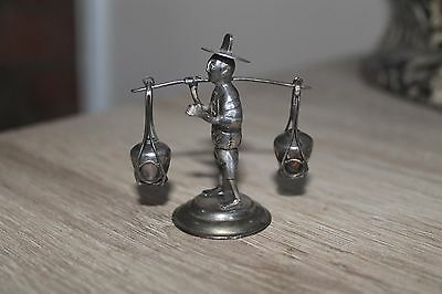 Solid Silver Antique Chinese Merchant Figurine Miniature