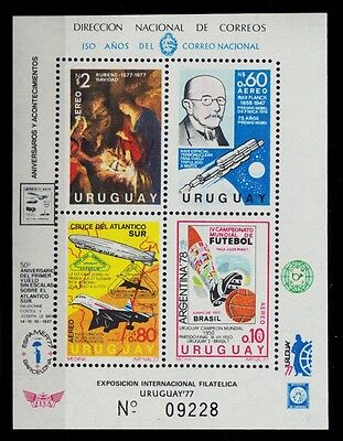 1977 Uruguay Ss World Cup Soccer Zeppelin Max Planck  Rubens Concorde St. C246