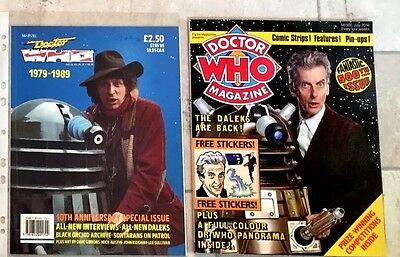 X2 Dr Doctor Who Magazines: The 10th Anniversary & 500th Issues.
