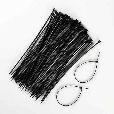 100 Pack 8 Inch Zip Ties Nylon Black 18 Lbs Uv Weather Resistant Wire Cable