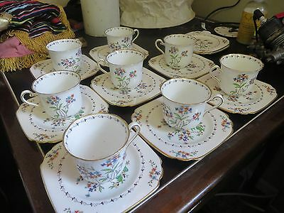 Vintage BCM Tuscan China lot of 8 Cups and 10 saucers set - handpainted floral