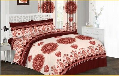 Red Striped Cotton Quilted Duvet Cover Set, Bedding + Pillow Case & Fitted Sheet