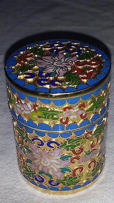 Chinese Cloisonne On Brass Lidded Match Opium Safe Ex Cond