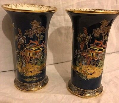 1930s Deco Pair of Carlton Ware Lustre Vases Blue & Gilt Oriental Chinese Decor