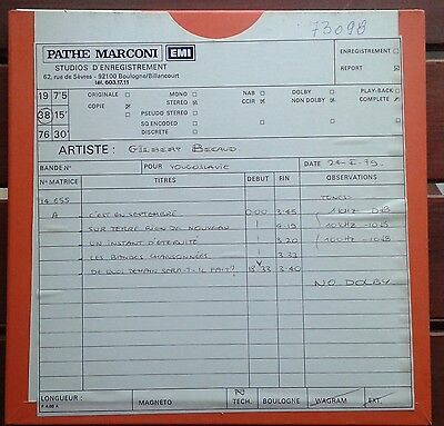 Gilbert Becaud- 1978-.2X Studio Production Master Tapes-Pathe Marconi-France