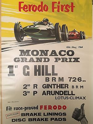 Original Ferodo First 1964 Monaco Grand Prix Poster Fabulous Condition