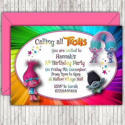 Personalised Birthday Party Invitations Thank You Cards Trolls Envelopes