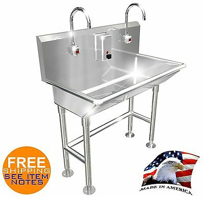 """Hand Wash Sink 2 Station 36"""" Electronic Faucet Free Standing Made In America"""