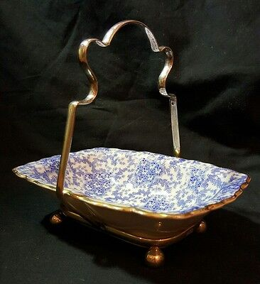 Vintage Blue And White Butter Dish On Silver Plate Stand