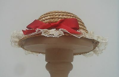 Original Vintage Fashion Dolls Hat Straw Boater Style Lace Trim Red Ribbon