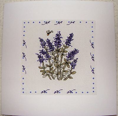 Completed Cross Stitch Extra Large Card - Beautiful Lavender