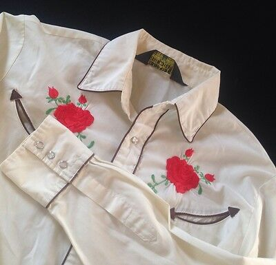 Vintage Western Shirt Embroidered Cowboy Roses Blouse Size Top