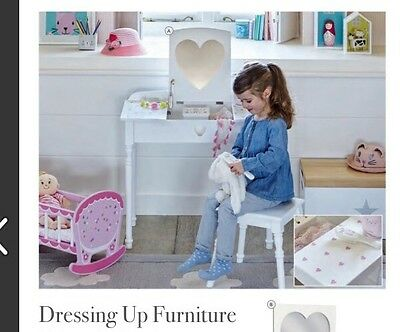New GLTC Maisie Dressing Table and Stool Set in White With Pink Hearts