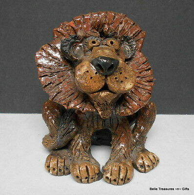 Hand Crafted & Molded Red Clay Lion Figurine Cartoonish Look