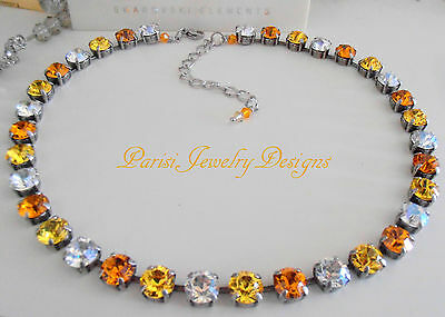 Swarovski Crystal Necklace Yellow Multicolors Anna Wintour Choker Cupchain