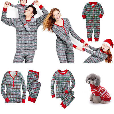 Christmas Family Matching Pajamas Sets Long Sleeve Sleepwear Nightwear Suits