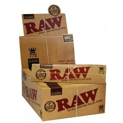 10 Packs Of Authentic Raw Natural Rolling Paper Classic King Size Slim