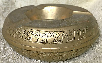 Old Brass Ashtray - Late 1950s Africa or India Unscrews to Empty Patterned