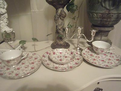~6 pc LOT LEFTON ROSE CHINTZ CHINA 2 CUPS BERRY BOWL 3 SNACK PLATES COTTAGE CHIC